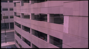 In the Company of Men parking garage establishing shot